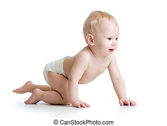 bebé, divertido, gatear, niño
