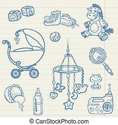 bebé, doodles, -, mano, dibujado, colección, en, vector