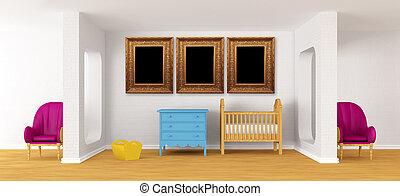 bebé, dormitorio, con, un, crib.