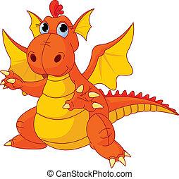 bebé, dragón, caricatura