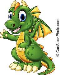 bebé, dragón, presentación, caricatura