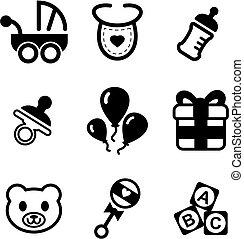 bebé, ducha, iconos