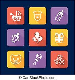 bebé, ducha, iconos, diseño, plano