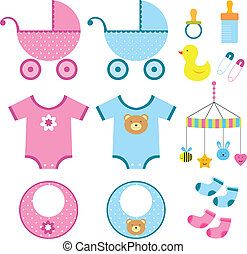 bebé, elementos, conjunto
