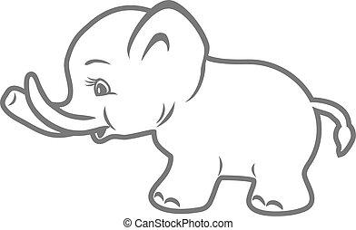 bebé, elephant., contorno, dibujo