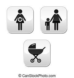 bebé, embarazo, conjunto, botones
