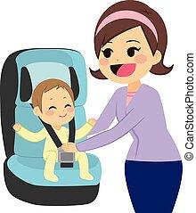 bebé, en, asiento del automóvil