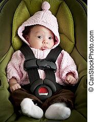 bebé, en coche, asiento