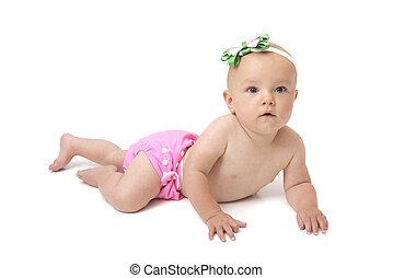 bebé, en, pañal del paño