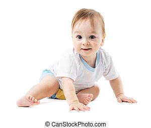bebé, en, un, camisa, creeps