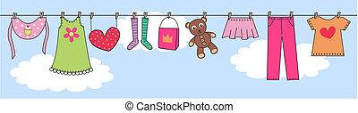 bebé, encabezamiento, moda, niños