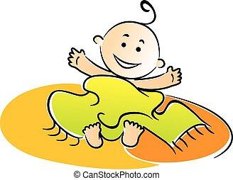 bebé, envuelto, poco, después, el bañarse