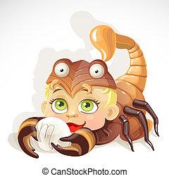 bebé, escorpión, zodíaco, -, señal