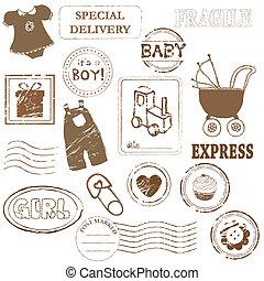 bebé, estampilla, vector, colección