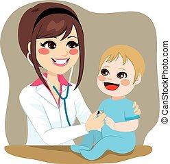 bebé, examinar, pediatra