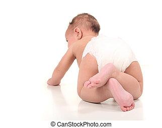 bebé, explorar, infante, niño, gatear