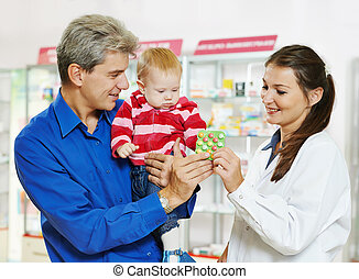 bebé, farmacia, farmacia, padre, químico