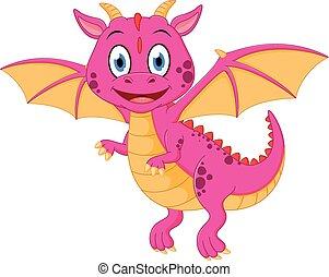 bebé, feliz, caricatura, dragón