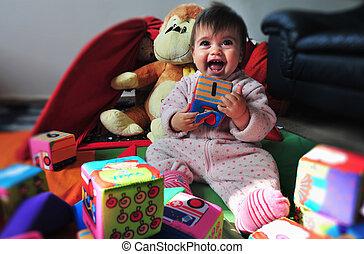 bebé, foto, vida, concepto, -