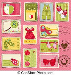 bebé, franqueo, niña, sellos