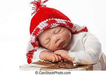 bebé, gorra, navidad, muñeca