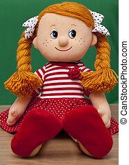 bebé, haired, rojo, muñeca