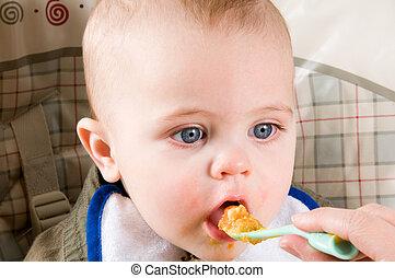 bebé, hambriento