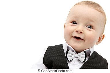 bebé hermoso, niño, en, traje
