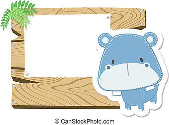 bebé, hipopótamo, tabla signo
