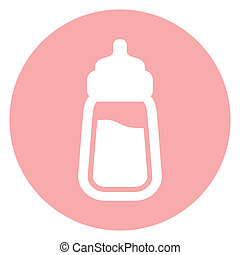 bebé, icono, botella de leche