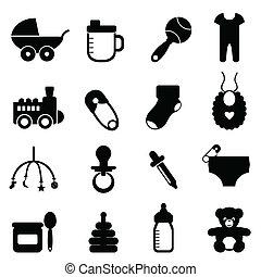 bebé, icono, conjunto, en, negro