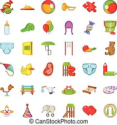 bebé, iconos, conjunto, caricatura, estilo