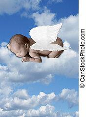 bebé, infante, nubes, alas