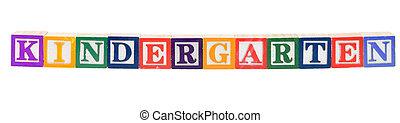 bebé, jardín de la infancia, ortografía, bloques