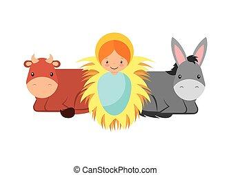 bebé jesús, con, animales