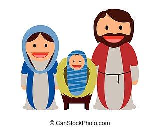 bebé jesús, con, maría, y, joseph