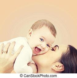 bebé, juego, reír, madre