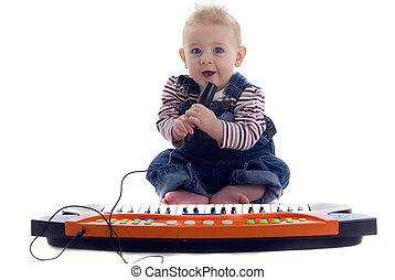 bebé, juegos, musical, ke