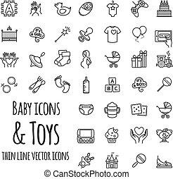 bebé, juguetes, juegos, alimentación, y, cuidado, vector, iconos, conjunto