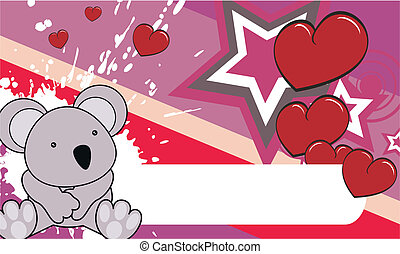 bebé, koala, caricatura, plano de fondo