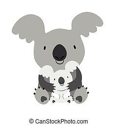bebé, koala., mamá, abrazar