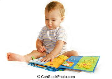 bebé, lectura chico, un, libro, encima, blanco