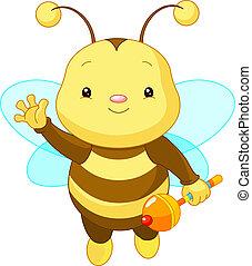 bebé, lindo, abeja