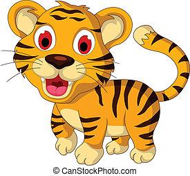 bebé, lindo, ambulante, tigre