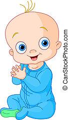 bebé, lindo, aplaudir, niño, manos
