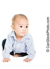 bebé, lindo, asiático