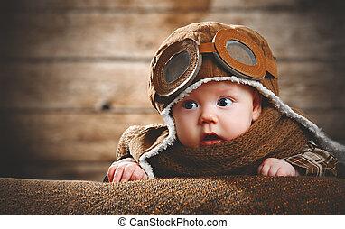 bebé, lindo, aviador, recién nacido, piloto
