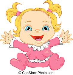 bebé, lindo, caricatura