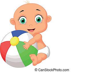 bebé, lindo, caricatura, colorido, tenencia