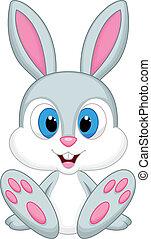 bebé, lindo, caricatura, conejo